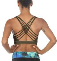 icyzone Sports Bras for Women - Activewear Strappy Padded Workout Yoga Tops Bra