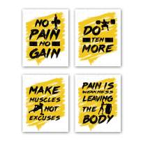 """HPNIUB Gym Art Prints, Set of 4 (8""""X10"""",Inspirational Quotes Wall Decor, Exercise Canvas Posters Motivational Pictures Work Out Signs for Gym Recreation Decor, No Frame"""