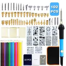 LadyRosian 102 PCS Wood Burining Kit, Pyrography Pen Set with Adjustable Temperature 200~450℃, Professional Woodburning Tool with Soldering Iron, Creative Tool Set for Embossing/Carving/Soldering Tips