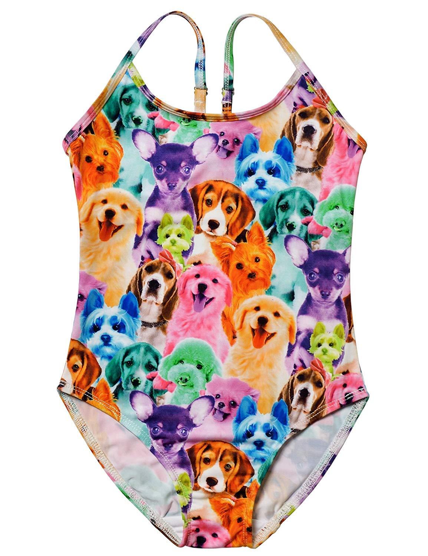 Girls Unicorn Swimsuits One Piece Swimwear Bathing Suits Rash Guard UPF 50+