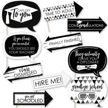 Big Dot of Happiness Funny Black and White Grad - Best is Yet to Come - Black and White Graduation Party Photo Booth Props Kit - 10 Piece
