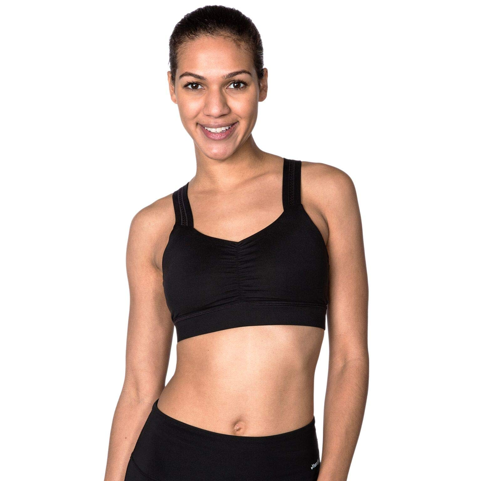 Handful Women's Y-Back Maximum Support Racerback Sports Bra with Removable Pads, Wire Free Yoga Bras