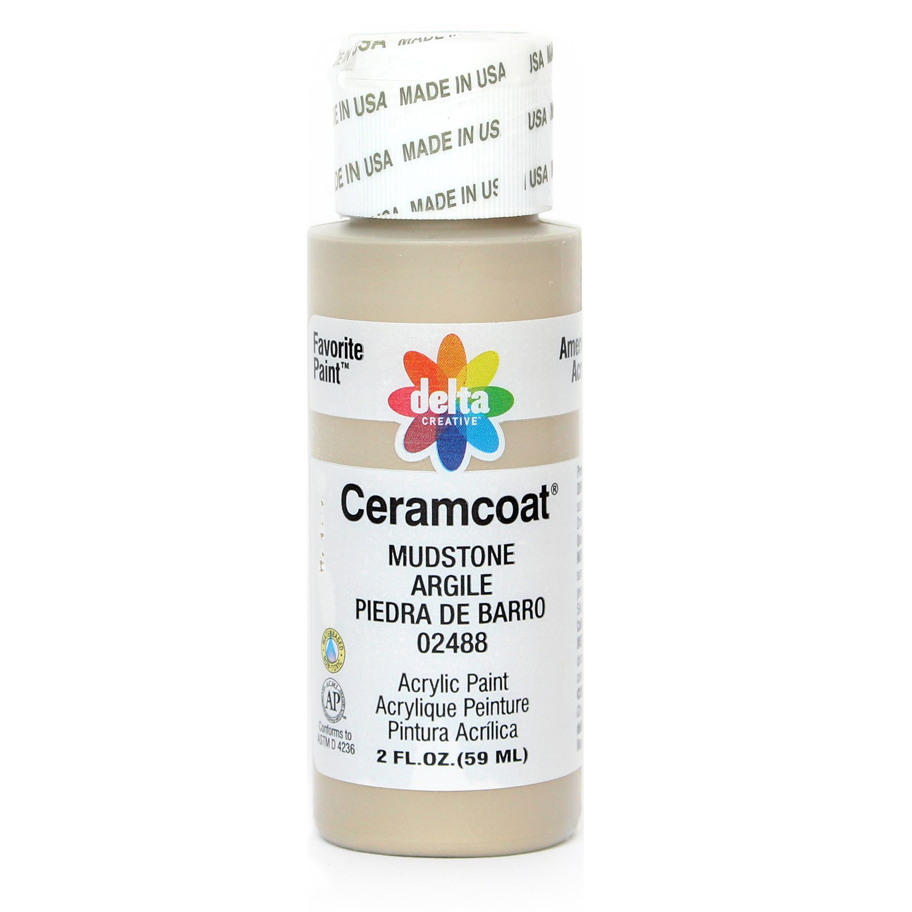 Delta Creative Ceramcoat Acrylic Paint in Assorted Colors (2 oz), 2488, Mudstone
