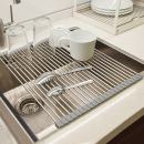 VEEAPE Dish Drying Rack, Roll Up Stainless Steel Dishes Rack Drying Holder, Foldable Kitchen Sink Rack Mat Sink Drainer for Dishes, Cups, Fruits Vegetables