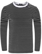 Sykooria Mens Basic Striped T-Shirt Crew Neck Cotton Vintage Couple Casual Halloween Slim Fit Stripes Top Tees S-XXL