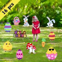 DIYASY 16 Pcs Easter Large Yard Signs,Eggs Yard Stakes,Bunny and Chick Outdoor Lawn Decorations for Easter Egg Hunt Game,Easter Party Decor Props,Yard Signs Decoration.