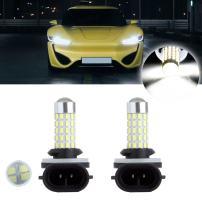 cciyu 2 Pack Xenon White New 6000k 66SMD 881 40W High Power LED Fog Light Bulb Lamp