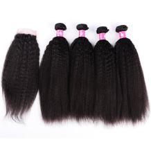 Forawme 7A Brazilian Virgin Kinky Straight Hair Closure 5pcs Lot 24 26 28 30 With 20 Inch Free Part Closure With Hair Weaves Unprocessed Human Hair Bundles
