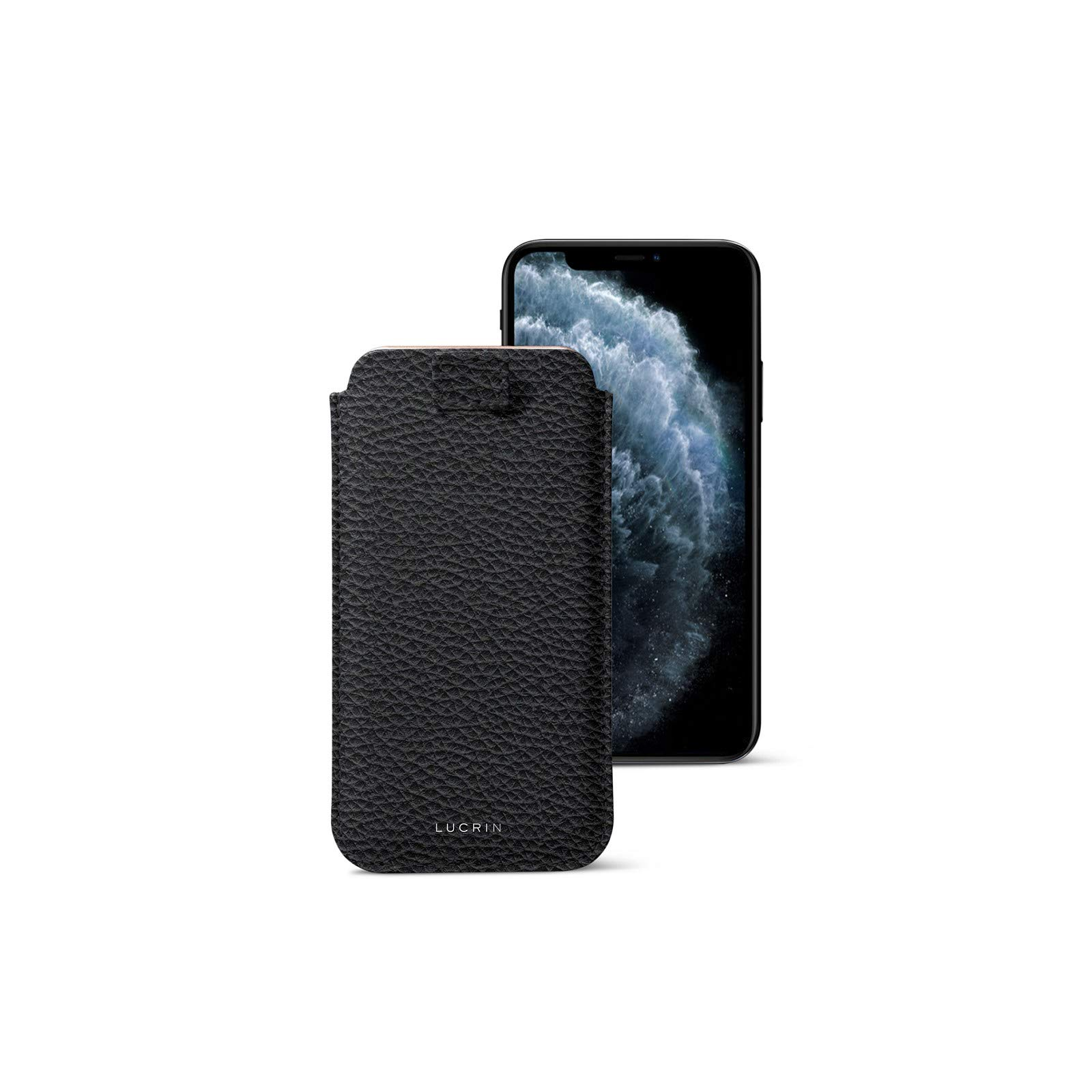 Lucrin - Pull Tab Slim Sleeve Case Compatible with iPhone 11 Pro/iPhone Xs/iPhone X and Wireless Charging - Black - Granulated Leather