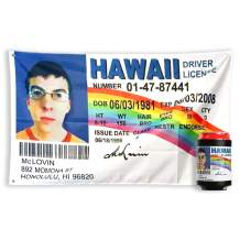 bA1 Outdoor McLovin Fake ID Flag (Authentic) + Free Coozie - Cool Funny Banner for College Dorm Room or Man Cave Poster - 3x5 FT
