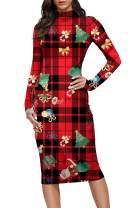 Pink Queen Womens Turtleneck Long Sleeve Bodycon Midi Sheath Dress