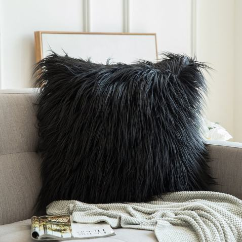 Ombre Faux Fur Throw Pillow Cover Brown Faux Fur Pillow Cover 18x18 Plush Pillow Covers for Bed Furry Pillow Covers Luxury Pillow Covers