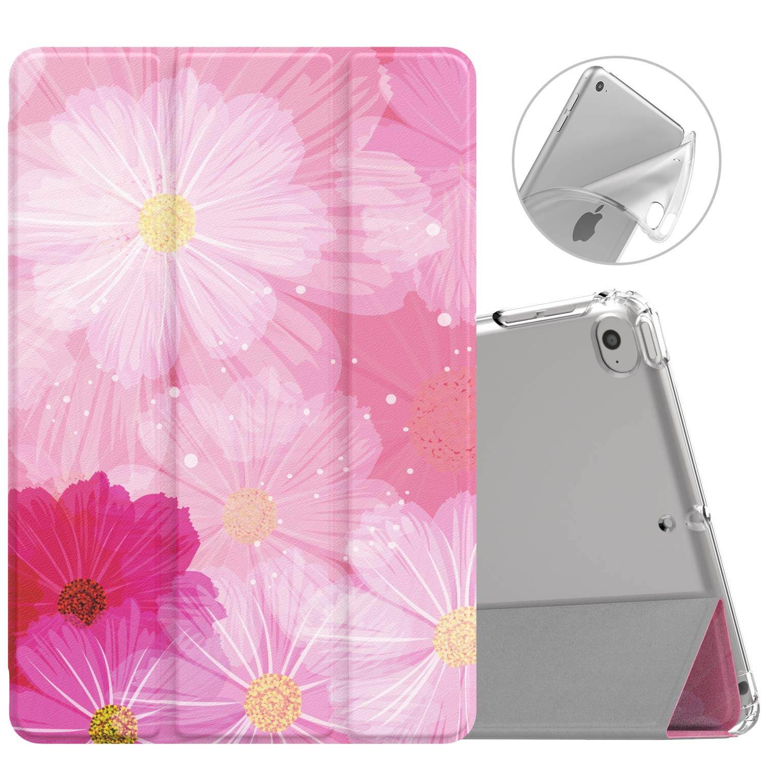 MoKo Case Fit New iPad Mini 5 2019 (5th Generation 7.9 inch), Slim Smart Shell Stand Folio Case with Soft TPU Translucent Frosted Back Cover, Auto Wake/Sleep - Coreopsis