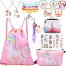 Unicorn Gifts for Girls Drawstring Backpack Makeup Bag Bracelet Necklace for Party Favors