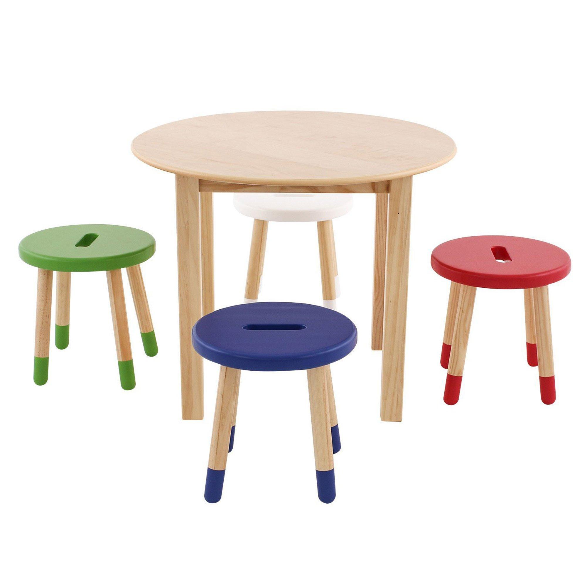 Max & Lily Wood Table/Stool Set, Natural