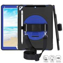 iPad Pro 12.9 Case for Kids, iPad Pro 12.9 2nd Generation Case with Pencil Holder, Three Layer Heavy Duty Shockproof Case with Stand/Handle Hand/Shoulder Strap for iPad Pro 12.9 Inch 2017 Blue