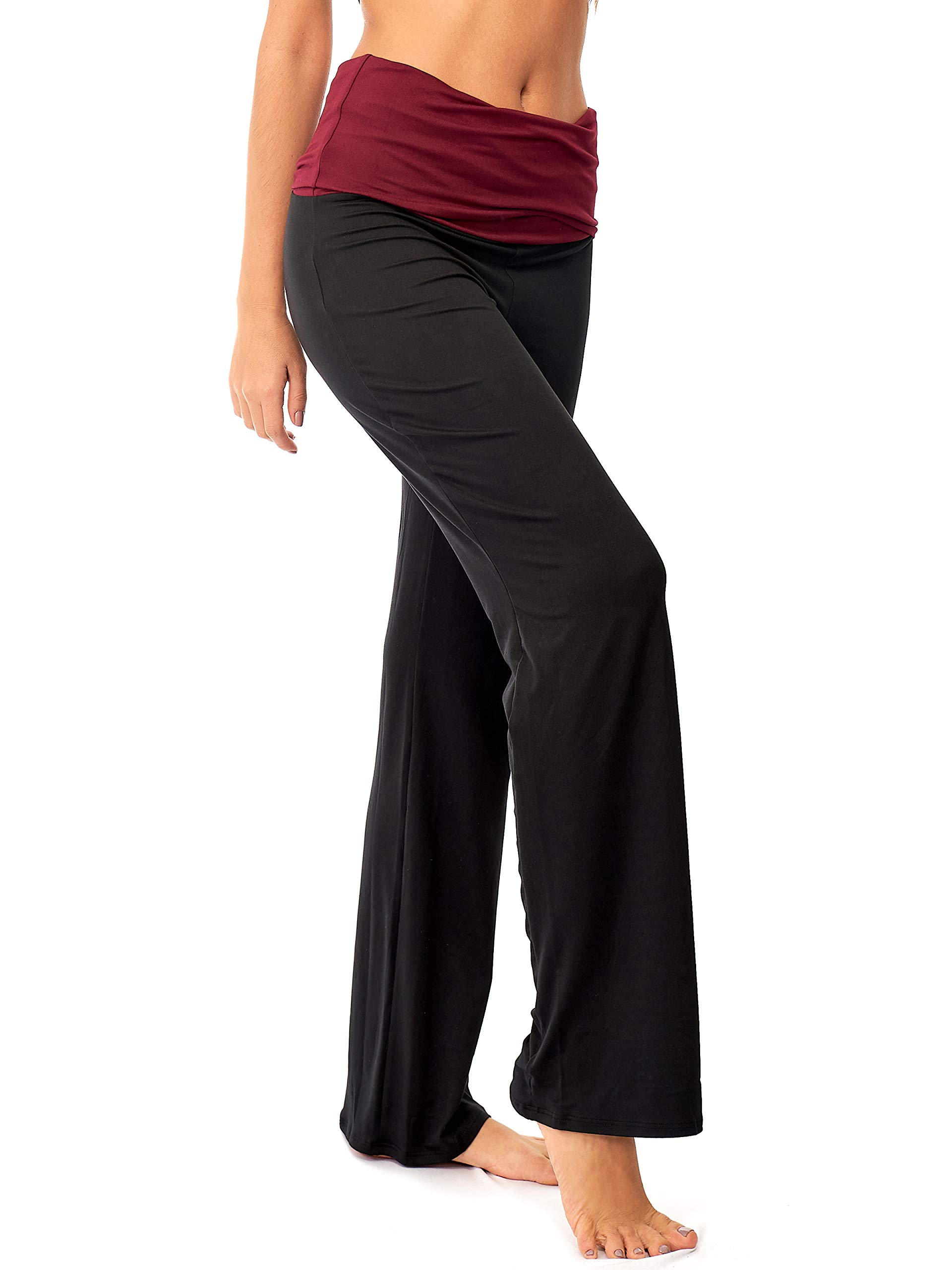 DEAR SPARKLE Fold Over Yoga Lounge Stretch Pants Women | Contrasting High Waist Loose Pregnancy Pant Plus (P8)