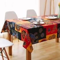 Bringsine Square Cotton Linen Fashion Mayan Culture Printed Washable Tablecloth Vintage Oblong Dinner Picnic Table Cloth Home Decoration (55 X 55 Inch (140140CM))