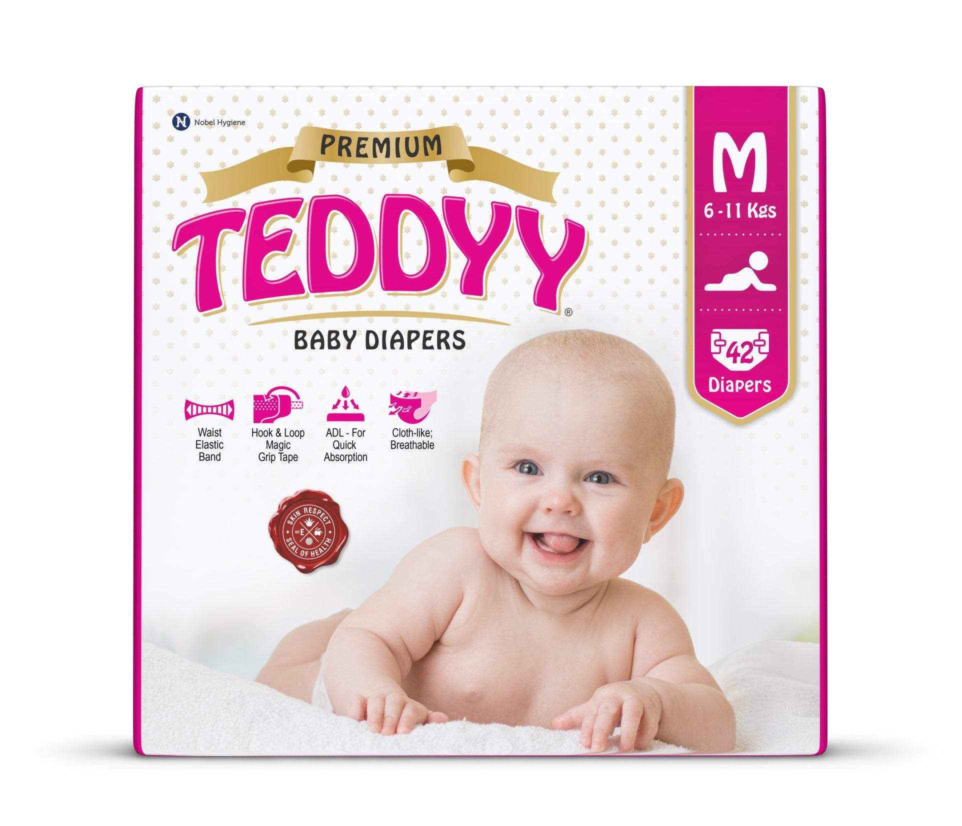 Teddyy Premium Baby Diaper Size 2 Medium 42 Count (12 to 18 lbs)