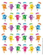 Eureka Pencil Smiley Faces Stickers, Theme (655068)