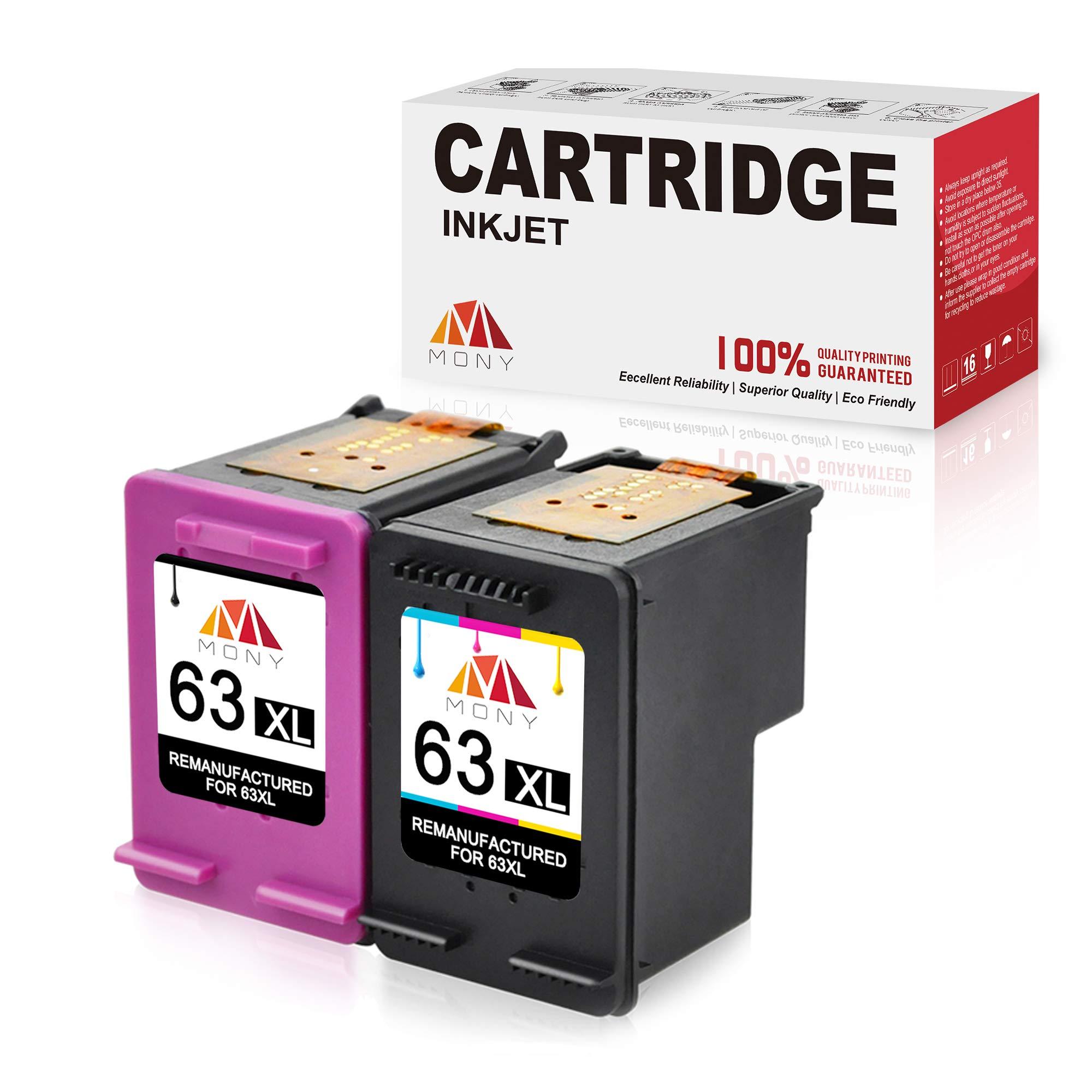 Mony Remanufactured HP 63 63XL Ink Cartridges (1 Black, 1 Tri-Color) Replacement for HP Officejet 5255 5258 4650 3830 4655 Envy 4520 4512 Deskjet 2132 3632 3630 1112 2130 Printer, Ink Level Display