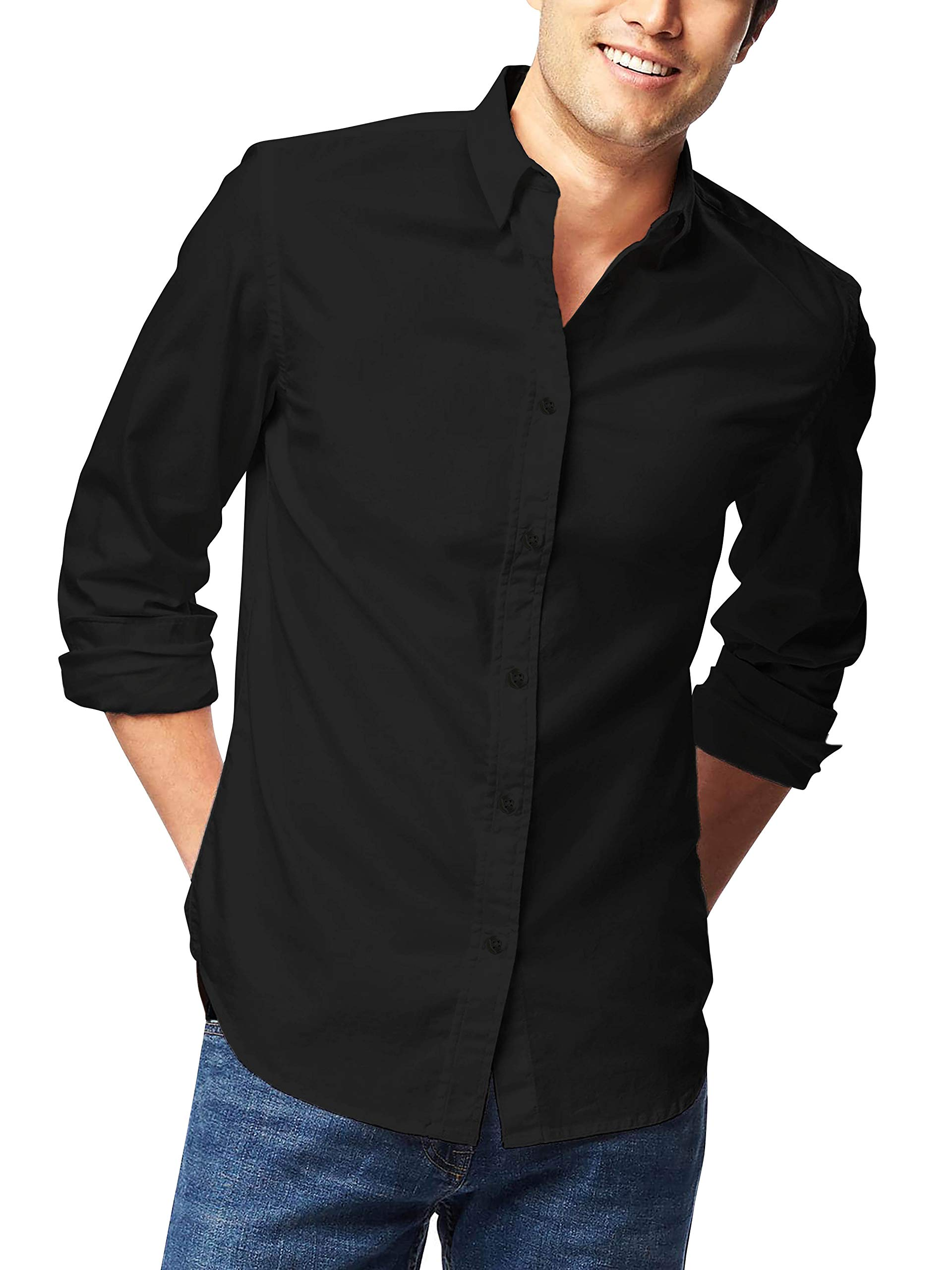 Hat and Beyond Mens Dress Shirt Button Down Long Sleeve Slim Fit
