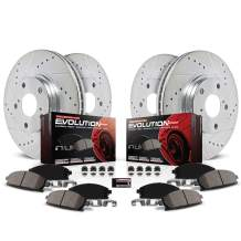 Power Stop K2718 Front and Rear Z23 Carbon Fiber Brake Pads with Drilled & Slotted Brake Rotors Kit