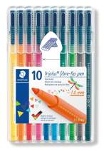Staedtler 323 Triplus Colour Fibre-Tip Pens, 1.0 mm, Assorted Colours, Pack of 10