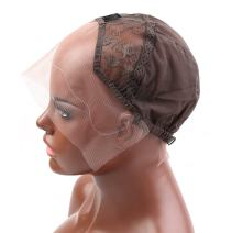 Bella Hair Undetectable Swiss Lace Front Wig Cap for Making Wigs with Adjustable Straps and Combs Small Size Skin Color Dark Brown