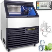 VEVOR 110V Commercial Ice Maker 265 LBS in 24 Hrs Stainless Steel with 99lbs Storage Capacity 90 Cubes Auto Clean for Bar Home Supermarkets, 265LBS/24H, 1