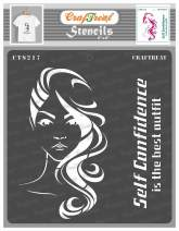 CrafTreat Woman Stencils for Painting on Wood, Canvas, Paper, Fabric, Floor, Wall and Tile - Confident Woman - 6x6 Inches - Reusable DIY Art and Craft Stencils for Home Decor - Women Face Stencil