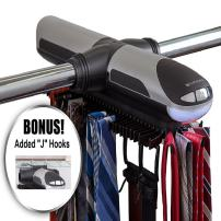 ClosetMate Motorized Tie Rack - Battery Operated Electric tierack - Built in LED Light Fits More than 70 Ties and Belts - Rotating Tie Racks has Added J hooks to work with wired shelving