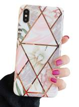 """KERZZIL iPhone Xs/X Floral Case for Girls and Women, Trendy Shiny Rose Gold Marble Design with Flowers and Green Leaves Phone Case Cover Compatible with iPhone Xs/X 5.8"""" (White Flower)"""
