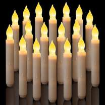 ZS-Juyi LED Flameless Taper Candles Amber Yellow Flickering Candles Light Battery Operated Electric Tall Taper Candlesticks Floating Candles for Halloween Christmas Eve Party Wedding Church (24 Pcs)