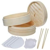 Bamboo Steamer 10 Inch, 2 Tier Handmade Bamboo Steamer Basket for Dumpling Cooking, Steaming Rice Buns Vegetables Fish with 4 Reusable Cotton Liners, 2 Sets Chopsticks & Dumpling Maker