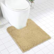 MAYSHINE Contour Bathroom Mat for Toilet / Non-Slip / Soft / Absorbent Water / Dry Fast / Machine-Washable (20 x 24 Inches Beige)