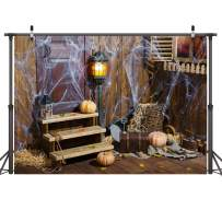 LYWYGG 7x5ft Deserted Shack Backdrop Brown Photography Backdrops Pumpkin Photo Background for Horror Photo Shoot CP-84