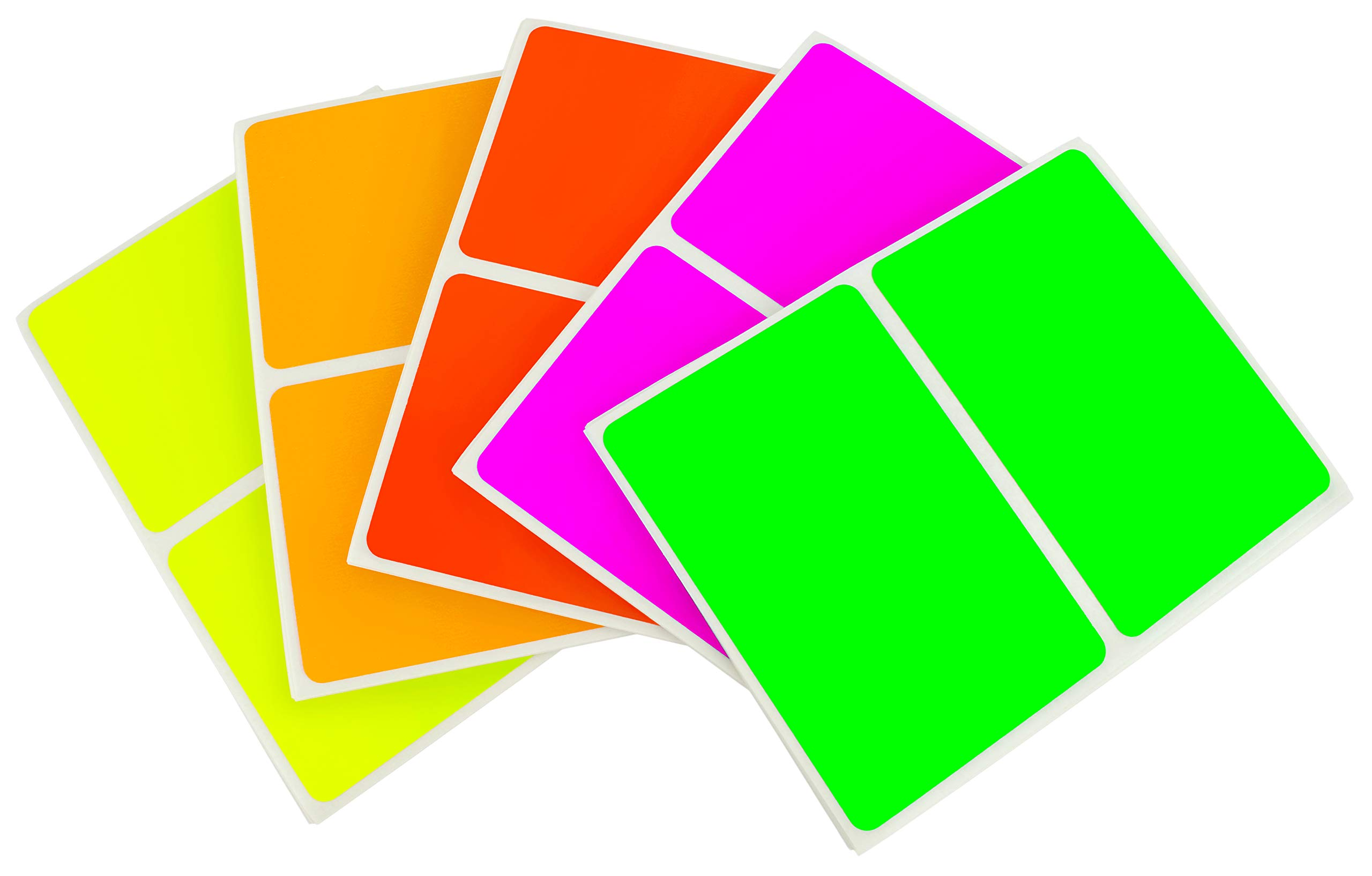 ChromaLabel 2 x 3 Inch Colored Rectangle Name Tag Sticker Kit, 5 Assorted Color Variety Pack,150 Total Labels, Fluorescent