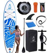 """Inflatable Paddle Board, 10'6"""" ×33"""" × 6"""" Youth Paddle Board for All Skill Levels, Non-Slip Deck, Double Action Pump, Waterproof Bag for Paddleboard Inflatable"""
