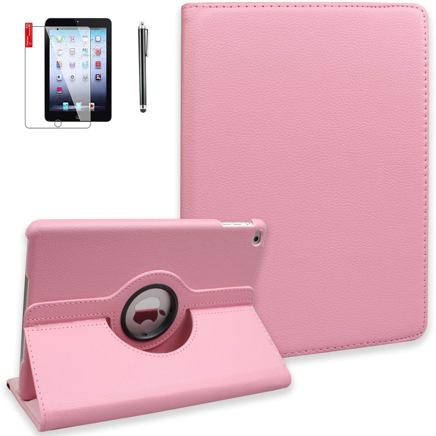 NEWQIANG iPad Case for Model A1458 with Screen Protector and Stylus - 2nd 3rd 4th Generation Case - Shockproof, 360 Degree Rotating Stand, Auto Sleep Wake -A1395 A1416 MD510LL/A (Pink)