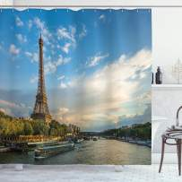 """Ambesonne Eiffel Tower Shower Curtain, Sunset Over Eiffel Tower and Seine River Paris France Nature Scene, Cloth Fabric Bathroom Decor Set with Hooks, 75"""" Long, Blue Sand"""