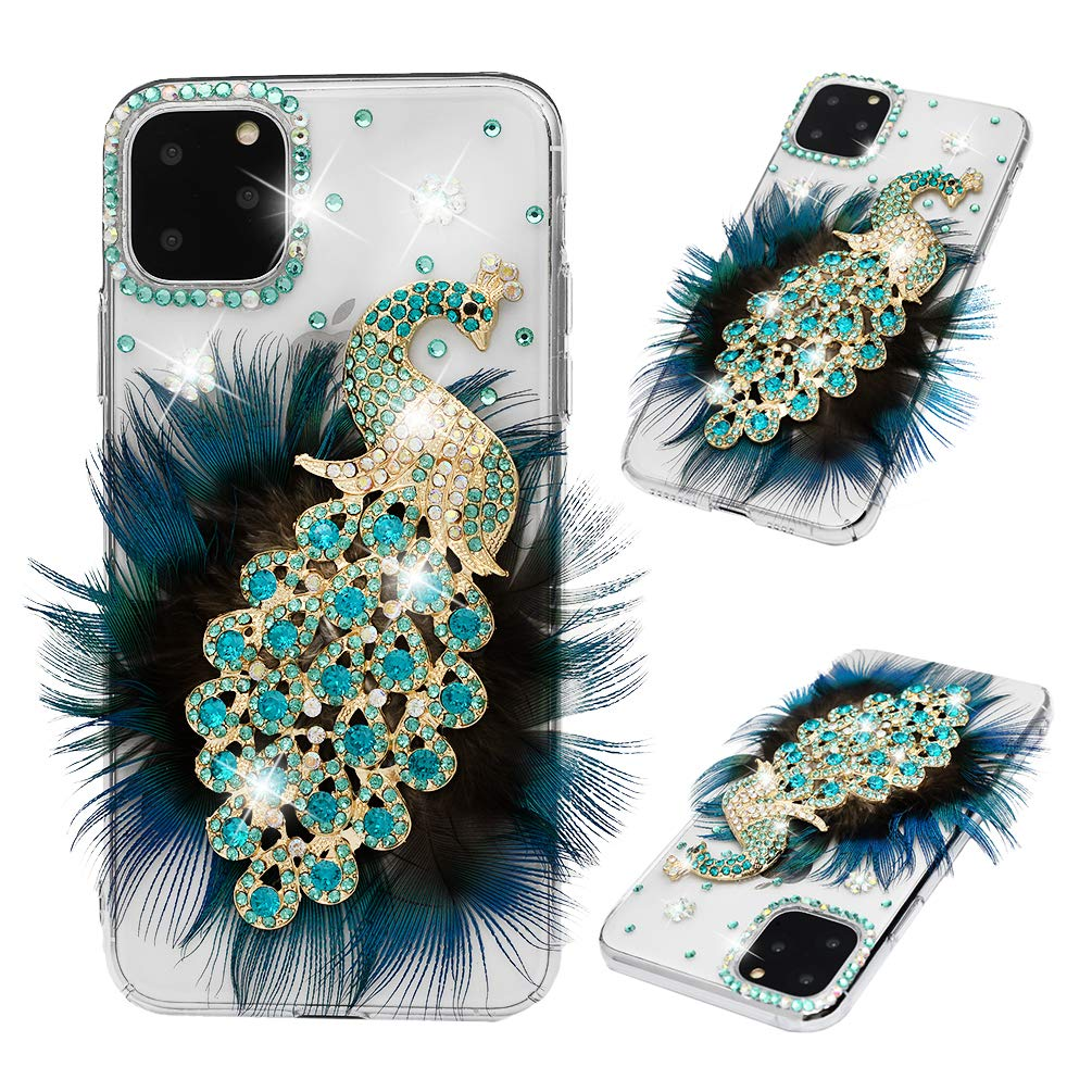 iPhone 11 Pro Max Case - Mavis's Diary 3D Handmade Luxury Peacock with Green Blue Feather and Shiny Bling Glitter Sparkly Diamond Glitter Rhinestones Gems Crystal Clear Hard Back Case Cover