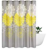 Wimaha Peony Flower Fabric Shower Curtain Water Resistant Standard Shower Bath Curtain for Bathroom, Shower, Bathtub, Yellow and Grey, 72 x 72