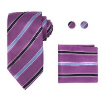 Y&G Men's Fashion Various Necktie Cufflinks Hanky Stripes Silk Tie for Mens 3PT Come with a Free Gift Box