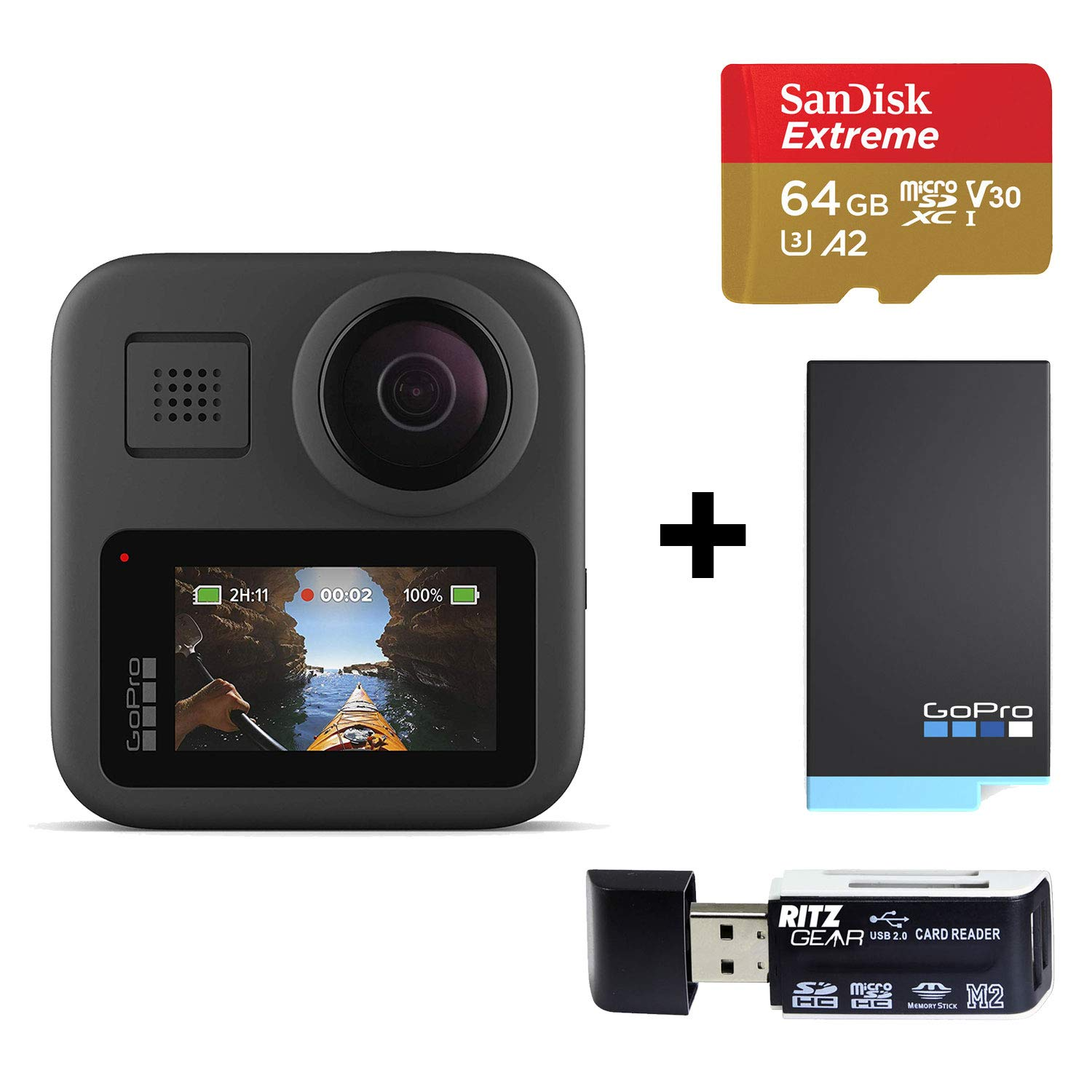 GoPro MAX — Waterproof 360 + Traditional Camera with Touch Screen Spherical 5.6K30 HD Video 16.6MP 360 Photos 1080p with Spare GoPro Max Battery, Sandisk 64GB Memory Card, and Ritz Gear Card Reader