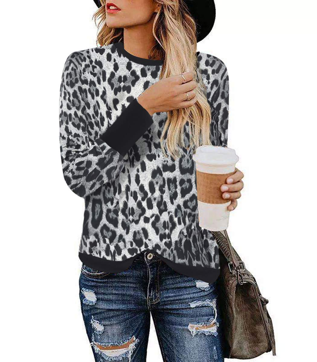 Women Tops Stylish Leopard Print Shirts Long Sleeve Patchwork Pullover Casual Round Neck Blouse