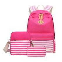 Aiduy Canvas Stripe Backpack Bookbag with Pencil Case and Shoulder Backpack
