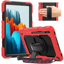 """Timecity Case Compatible with Galaxy Tab S7 11"""" 2020,SM-T870/T875/T878 Case with S Pen Holder & Built-in Screen Protector & 360 Degree Swivel Stand & Handle Strap Case for Samsung Galaxy Tab S7 5G Red"""