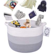 LONTAN 3-Toned XXL Cotton Rope Basket Woven Storage Basket with Handles - Organization Basket Decorative Laundry Basket for Living Room, Baby Wash Clothes, Dog Toy, Towels - 20''20''13''