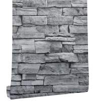 """HaokHome 1633 Faux Stone Brick Wallpaper Peel and Stick Prepasted Brick Contact Paper Grey for Bathroom Kitchen17.7""""x 19.7ft"""